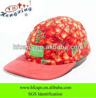 Fruit pattern 5 panel hat custom cotton 3D digital printed 5 panel hat