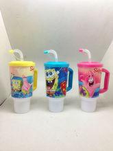 kids plastic mugs cartoon with straw mug with handling