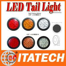 "4"" 24v 12leds round truck tail lights for truck,led truck stop turn tail lights,4 inch round led trailer tail lights"