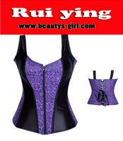 Young Girls Coset Purple Front Zip Sexy Corset
