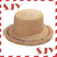 New design straw sun shade bamboo kids beach hats