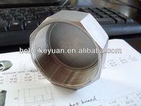 casting steel pipe fitting cap with hexagonal head ,304 or 316 hexagon screwed cap