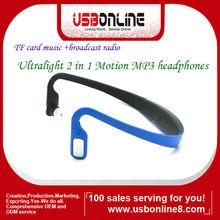Sport Wireless MP3 headphone/ headset player with FM radio Blue
