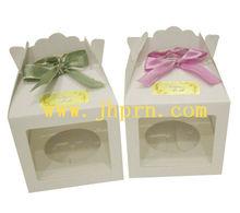 white mini paper cupcake box with ribbon
