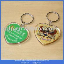 Hot style custom heart shape blank plastic key chain plastic keyring wholesale