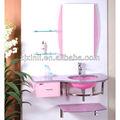 Temperado de alta qualidade parede Hung lavatório cor de rosa de vidro com suporte de aço inoxidável