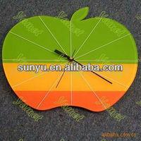 colorful apple shape acrylic decorative wall clock