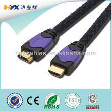 Ethernet PVC HDMI to HDMI Cable with Nylon Sleeve for 3D