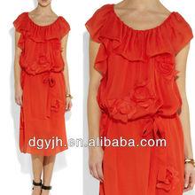 E+H1303 Flounced silk dress knee length
