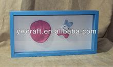 Azul color de madera del bebé footprinting caja de marco de alta calidad y nuevo diseño en el 2013