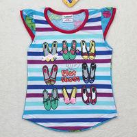 Ajiduo colored stripe baby t shirt 100% cotton girl Summer Tops design clothing for children kidswear