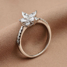 New Flower Crystal 925 Sterling Silver Lady Wedding Ring Fashion Jewelry Rhodium Plated Women Engagement CZ Rings