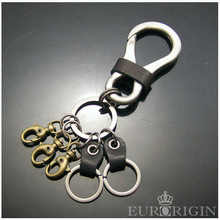 PPK12001 Genuine custom leather Keychain with big carabiner