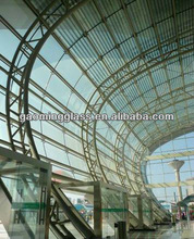 exterior building glass wall point supported with spider system curved glass wall