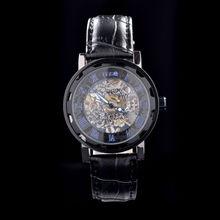 Mens Military Black Skeleton Hand Wind Mechanical Watch Wrist Watch PU Leather Strap Watch