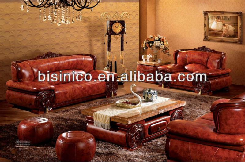 Thai klassische wohnzimmer sofa gesetzt, luxus echte laether südostasien stil möbel, marmor ...