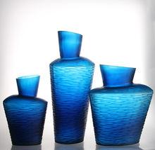 2013 New design engraved high quality ink blue glass vases home decoration