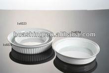 ceramic white porcelain round baking dish, baking oven dish, oven bakeware