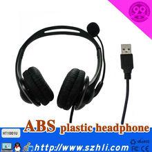 USB Headphone HT101 with RJ11 plug and USB DC plug for Option, Cheap Handband Headset