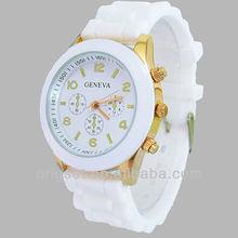 geneva quartz silicone watch cheap price small order quantity Customs watch
