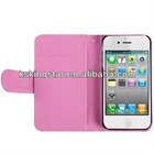 book style flip leather wallet cover for iphone 4s