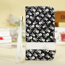 cute skeleton case luxury leather flip wallet case for samsung galaxy s4 S IV