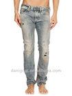 Classic 5 pockets denim jeans pencil cut man jeans dirty effect