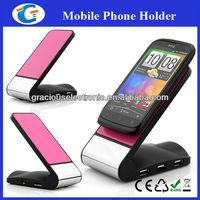 Anti-slip pad phone holder with 3 ports usb hub and card reader