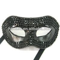Handmade Crystal Eye Mask Black PU Leather