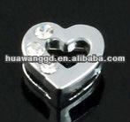Diamante half stone heart slip charm
