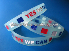 Hot Sale Fashion Design Glow in the Dark Bracelet Debossed Colors Filled Bulk Cheap Price Solid Color Silicone Band