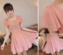 2013 Korean New Dresses Fashion Short Sleeve Chiffon Women Clothes