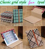 Classical grid style for ipad high quality leather case