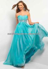 SJ1201 new design custom good quality low price chiffon beaded blue evening dress