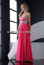 SJ1203 new design custom good quality low price chiffon beaded hot pink evening dress