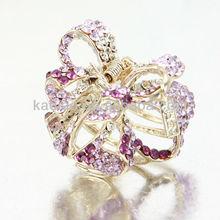 Yueya beauty flower hair claws high quality crystal bowknot/ribbon shape light purple hair claws