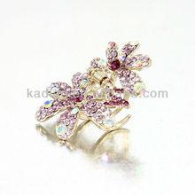 Yueya daisy flower shape shiny purple crystal hair claws high polished gold plated full stone hair claws