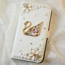 shinning diamond rhinestone swan case for samsung galaxy s4 luxury leather case flip wallet case for galaxy s4 i9500