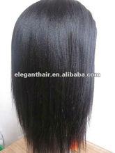 fashion 100% human hair yaki straight wig with factory price