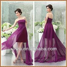 Élégante robe longue en mousseline de soie à l'extérieur Satin jupe intérieur de demoiselle d'honneur robe 2013