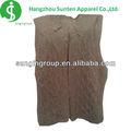 sin mangas dama sólido de color marrón grande de punto patrón de cable suéter de la mujer
