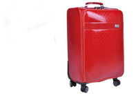 2013 hotsale fashion high-quality red PU leather trolly luggage bag 20' and 24' size wholesale in factory price
