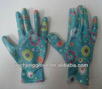garden line gardening gloves ; nitrile coated nylon liner glove,garden glove JCN1521G