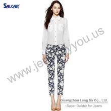 SALCAR Perfect Fit Black And White Printed Women's Skinny Cropped Denim Jeans