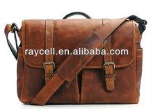 2013 new fashion italian tanned camel vintage leather camera bag messenger laptop shoulder bag manufacture from China