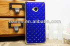 luxury electroplating PC leather cover case set with diamond for HTC one M7