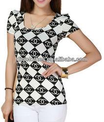 South Korea style lady viscose plaid t shirt, woman fit clothes, garments