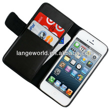 Leather Wallet Business Credit Card Hard Kick Stand Case for Apple iPhone 5 5G 5S