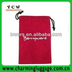 Red Embroidery Velvet gift Bag drawstring gift bag