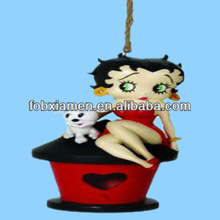 Cat and Girl Red Resin Painted Birdhouse Designs